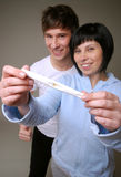 Positive pregnancy test royalty free stock photos