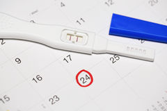 Positive pregnancy test with calendar. Positive pregnancy test with calendar stock photo