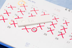 Positive pregnancy test with calendar. Royalty Free Stock Images
