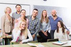 Positive professor and group of students Royalty Free Stock Photography