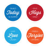 Positive Quotation Labels. Collection of positive quotes on circular badges isolated over white Stock Photos