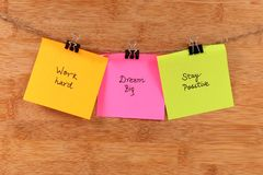 Positive quote. Beautiful shot of positive quotes written on paper royalty free stock images