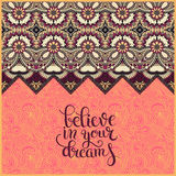 Positive quote believe in your dreams inscription lettering  Stock Images