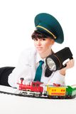 Positive railroad worker woman Royalty Free Stock Photography