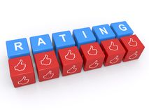 Positive rating. 3d cubes spelling word rating with hand signs with thumbs up, white background Royalty Free Stock Images