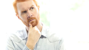 Positive Red Hair Beard Man Thinking  about New Startup Project Royalty Free Stock Photo