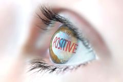 Positive reflection in eye. Royalty Free Stock Photos