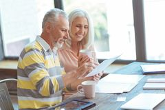 Positive retired couple counting their budget. Family business. Positive loving retired couple doing their paperwork and siting at home while discussing their Stock Image