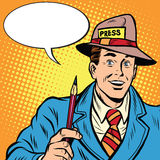 Positive retro journalist interviews press media report. Pop art retro style. A media industry. Policy and news Stock Images