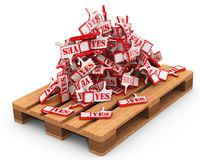 Positive reviews lie on the pallet. Heap of hand gestures thumbs up or thumbs down sign with red word YES lie on wooden cargo pallet. Isolated. 3D Illustration royalty free illustration