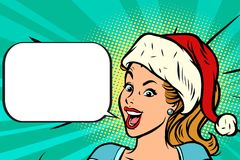Positive Santa girl. Comic book cartoon pop art retro vector illustration drawing Royalty Free Stock Photo