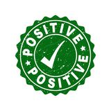 Positive Scratched Stamp with Tick stock photo