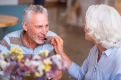 Positive senior couple having a meal Stock Photos