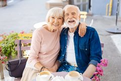 Positive senior couple spending time together royalty free stock images