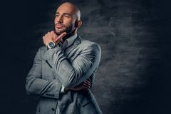 Positive shaved head male dressed in a grey suit. Positive shaved head male dressed in a grey suit over dark grey background Royalty Free Stock Image