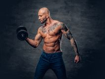 Positive shaved head shirtless male dressed in a jeans holds the. Dumbbell over dark grey background Royalty Free Stock Photos