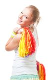 Positive smile woman cheer leader. Stand with Pompoms Royalty Free Stock Photo