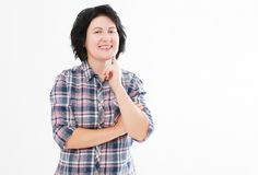 Positive smiling brunette middle-aged woman isolated on white background. Happy pretty women with white teeth royalty free stock photo