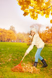 Positive smiling girl with rake cleaning grass Royalty Free Stock Photo