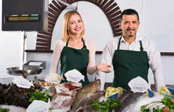 Positive smiling shop assistants selling fresh fish. And chilled seafood royalty free stock photos