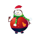 Positive Snowman with red hat and hand up. Snowman with red hat and hand up illustration royalty free illustration