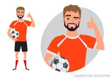 Positive soccer player smiling and recommended. Laughing football player showing thumbs up Royalty Free Stock Photography