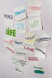 Positive sticky notes stock image