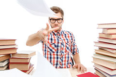 Positive student studying in the library Royalty Free Stock Image