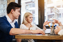 Positive students learning genomics together Royalty Free Stock Photography