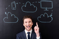 Positive stylish developer man is laughing Royalty Free Stock Photo