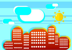 Positive summer cityscape in flat style. A simple illustration o. F a beautiful fashion in contrasting colors Royalty Free Stock Photos