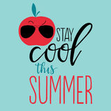 Positive summer poster. Vector summer background with hand drawn fruit and hand written text Stay cool this summer. Bright poster with exotic fruit, lettering Royalty Free Stock Photography