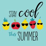 Positive summer poster. Vector summer background with hand drawn pineapple, apple, lemon, strawberry, pear and hand written text Stay cool this summer. Bright Stock Image
