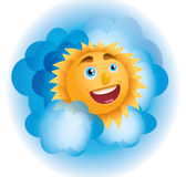 Positive sun. Cheerful sun peeks from the clouds stock illustration