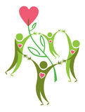 Positive symbol. Joyful people, love, life, and environmental protection Royalty Free Stock Photography