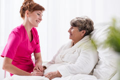 Positive talking to patient Royalty Free Stock Images