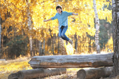 Positive teen boy having fun Stock Images