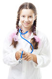 Positive teenager girl pretend to be a doctor Royalty Free Stock Images