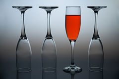 Positive Thinking. Wineglasses with colored liquid illustrating the concept of possitive thinking Stock Photos