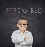 Positive thinking attitude concept. Confident smart boy Stock Image