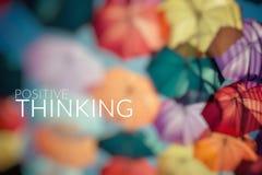 Positive Thinking. Background colorful umbrella. Royalty Free Stock Image