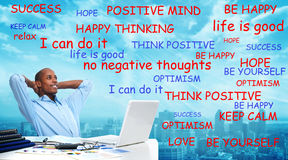 Positive thinking black man. Positive thinking African-American businessman. Relaxation and meditation royalty free stock photography