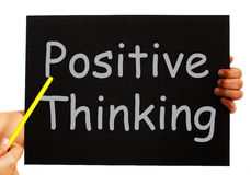 Positive Thinking Blackboard Shows Optimism Stock Photography
