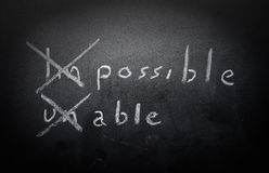 Positive thinking concept handwritten on black chalkboard with m. Odified impossible unable word concept stock photos
