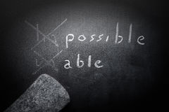 Positive thinking concept handwritten on black chalkboard with m. Odified impossible unable word concept Royalty Free Stock Photography