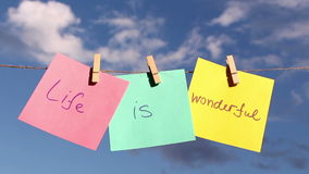 Positive thinking concept. Life Is Wonderful stock video footage