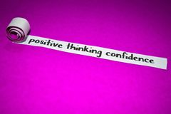 Positive thinking confidence text, Inspiration, Motivation and business concept on purple torn paper stock photo