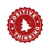 POSITIVE THINKING Grunge Stamp Seal with Fir-Tree stock illustration