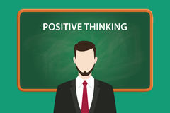 Positive thinking illustration with a bearded man wearing black suit in front of green chalk board and white text. Vector Royalty Free Stock Image