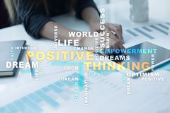 Positive thinking Life change. Business concept. Words cloud. Positive thinking Life change. Business concept. Words cloud stock photo